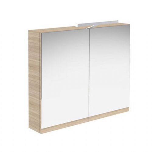 Kartell Ikon Mirrored Cabinet With Light And Shaver Socket - 800mm - Oak